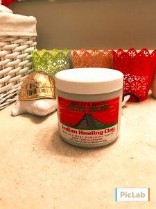 aztec healing clay on bathroom sink